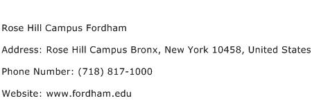 Rose Hill Campus Fordham Address Contact Number