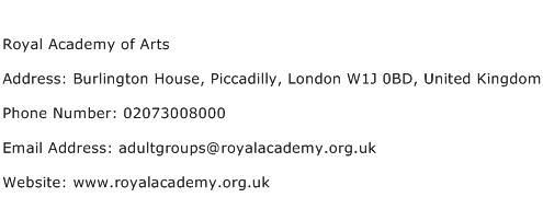 Royal Academy of Arts Address Contact Number