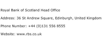 Royal Bank of Scotland Head Office Address Contact Number