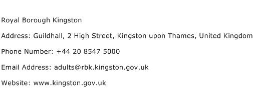 Royal Borough Kingston Address Contact Number