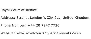 Royal Court of Justice Address Contact Number