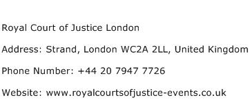 Royal Court of Justice London Address Contact Number