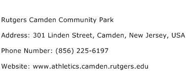 Rutgers Camden Community Park Address Contact Number
