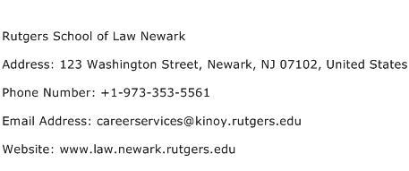 Rutgers School of Law Newark Address Contact Number