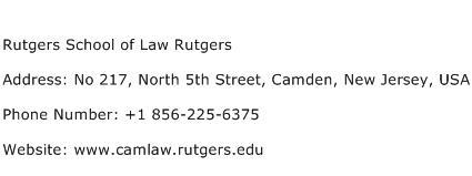 Rutgers School of Law Rutgers Address Contact Number