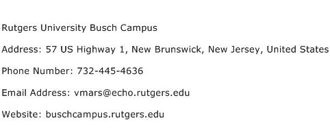 Rutgers University Busch Campus Address Contact Number