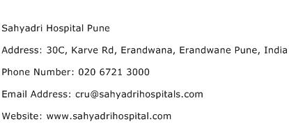 Sahyadri Hospital Pune Address Contact Number
