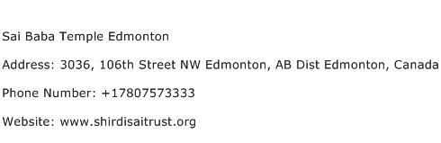 Sai Baba Temple Edmonton Address Contact Number