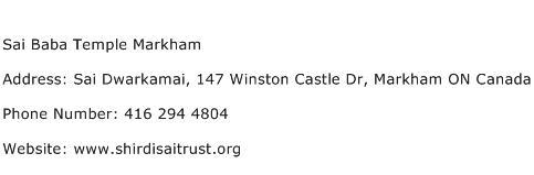 Sai Baba Temple Markham Address Contact Number
