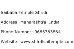 Saibaba Temple Shirdi Address Contact Number