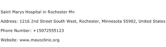 Saint Marys Hospital in Rochester Mn Address Contact Number