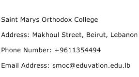 Saint Marys Orthodox College Address Contact Number