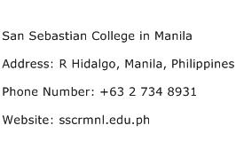 San Sebastian College in Manila Address Contact Number