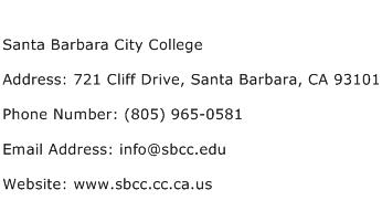 Santa Barbara City College Address Contact Number
