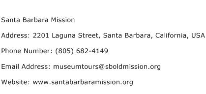 Santa Barbara Mission Address Contact Number