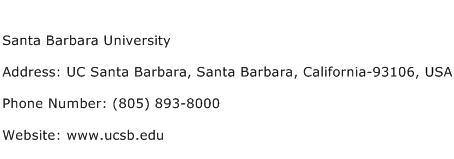 Santa Barbara University Address Contact Number