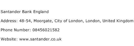 Santander Bank England Address Contact Number