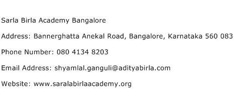 Sarla Birla Academy Bangalore Address Contact Number