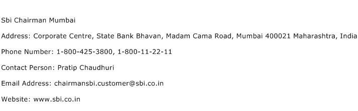 Sbi Chairman Mumbai Address Contact Number
