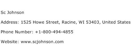 Sc Johnson Address Contact Number