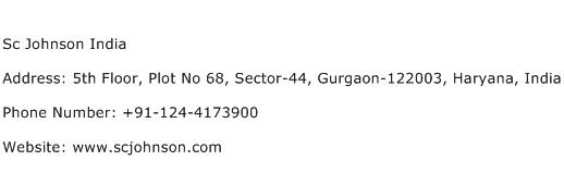 Sc Johnson India Address Contact Number