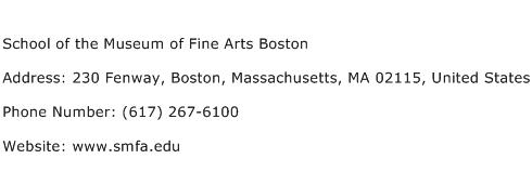 School of the Museum of Fine Arts Boston Address Contact Number