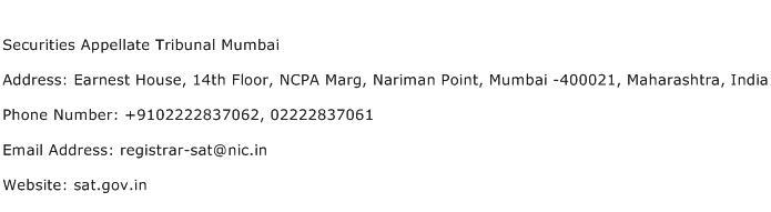 Securities Appellate Tribunal Mumbai Address Contact Number