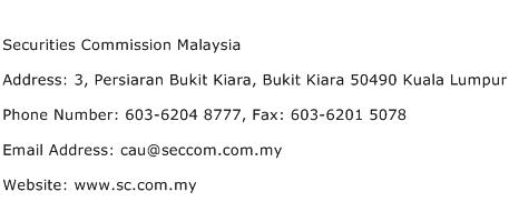 Securities Commission Malaysia Address Contact Number