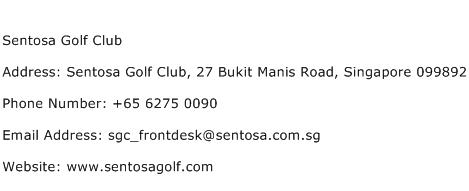 Sentosa Golf Club Address Contact Number
