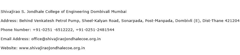 Shivajirao S. Jondhale College of Engineering Dombivali Mumbai Address Contact Number