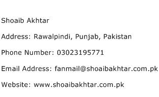 Shoaib Akhtar Address Contact Number
