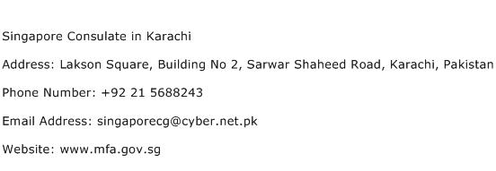 Singapore Consulate in Karachi Address Contact Number