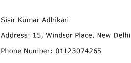 Sisir Kumar Adhikari Address Contact Number