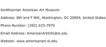 Smithsonian American Art Museum Address Contact Number