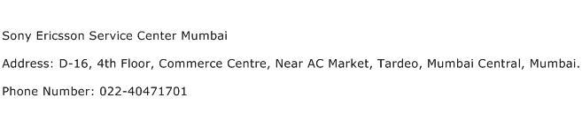 Sony Ericsson Service Center Mumbai Address Contact Number