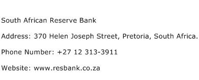 South African Reserve Bank Address Contact Number