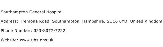 Southampton General Hospital Address Contact Number