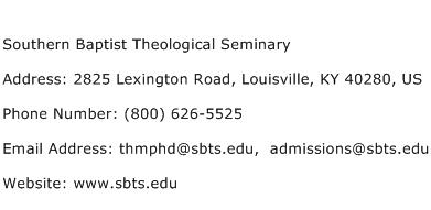Southern Baptist Theological Seminary Address Contact Number