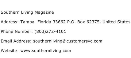 Southern Living Magazine Address Contact Number