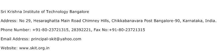 Sri Krishna Institute of Technology Bangalore Address Contact Number