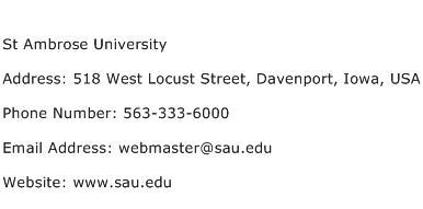 St Ambrose University Address Contact Number