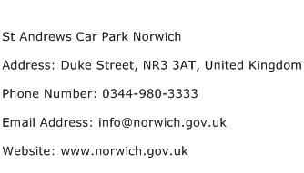 St Andrews Car Park Norwich Address Contact Number