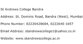 St Andrews College Bandra Address Contact Number