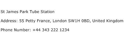St James Park Tube Station Address Contact Number