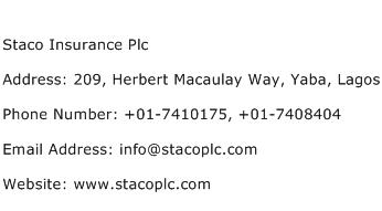 Staco Insurance Plc Address Contact Number