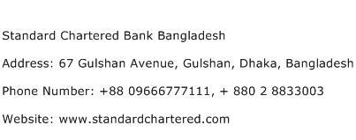 Standard Chartered Bank Bangladesh Address Contact Number