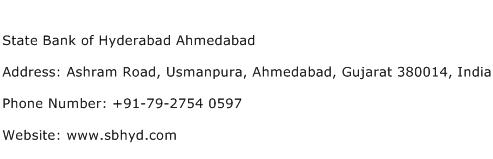 State Bank of Hyderabad Ahmedabad Address Contact Number
