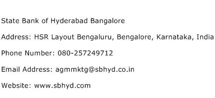 State Bank of Hyderabad Bangalore Address Contact Number