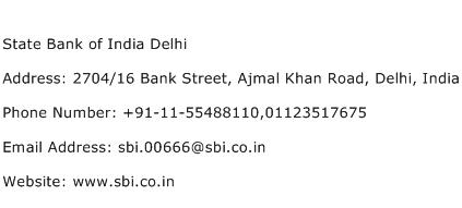 State Bank of India Delhi Address Contact Number