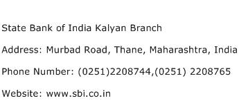 State Bank of India Kalyan Branch Address Contact Number